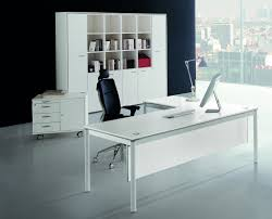 modern white and wood desk image