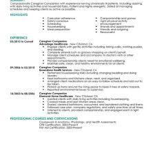 Companion Job Description For Resume Best Caregivers Companions Resume Example Livecareer for Caregiver 2