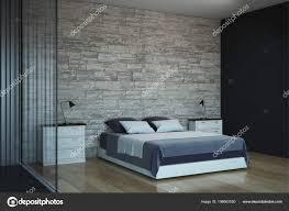 Zeitgenössische Schlafzimmer Einrichtung Mit Textfreiraum Wand