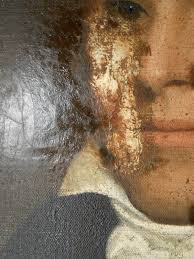 patch revealed during cleaning of 200 year old oil painting