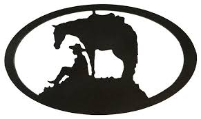 southwest horse cowboy oval metal wall decor hammered black