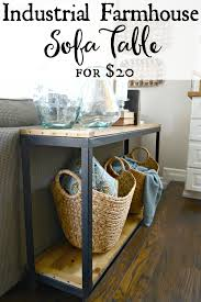 diy farmhouse industrial sofa table turn a metal shelf into rustic shelving find out