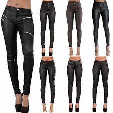 <b>women</b> leather look <b>leggings</b> black wet trousers <b>sexy</b> jeans size 6 <b>8</b> ...