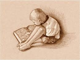 reading art print featuring the drawing boy reading book sepia drawing by joyce geleynse