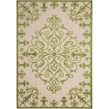 nourison aloha green indoor outdoor rectangular 9 ft 6 in x 13 ft rug