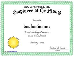 Printable Employee Of The Month Certificates Ase Certificate