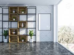 Living room closet Cabinets Stockfoto White Geometric Wall Pattern Living Room Interior With Concrete Floor And Closet With Vases And Potted Plants 3d Rendering Vertical Mock Up 123rf White Geometric Wall Pattern Living Room Interior With Concrete