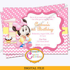 Baby Minnie Mouse First Birthday Invitation Minnie Mouse 1st Birthday Party Invite Digital