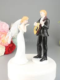 Wedding Cake Toppers Couple Figurines Guitar Playing Groom Bride