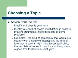 concept paper a few ideas from your text choosing a topic advice 2 choosing a topic