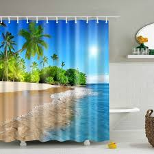 3d beach polyester waterproof bath shower curtain in blue m ledeals com