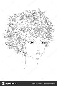 夏の花と蝶 塗り絵の女性 ストックベクター Oksana 177383694