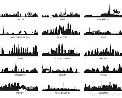 city landscape vinyl decals silhouette