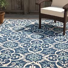 navy outdoor rug area