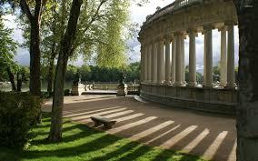 garden columns. Beautiful Garden By The Columns Wallpaper