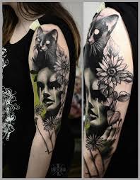 кот лицо девушки цветы на плече тату на плече тату фото тату