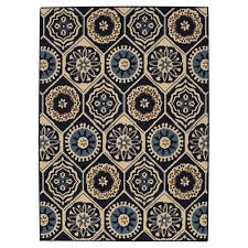hampton bay medallion navy ivory 5 ft x 7 ft indoor outdoor