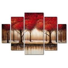 >4 piece set wall art you ll love wayfair  parade of red trees framed 5 piece set on canvas