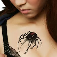 5pcs 3d Spider Insect Design Temporary Fake Realistic Tattoos Sticker Body Art