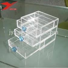 3 tier clear acrylic makeup organizer cube with drawers for desktop whole view larger image