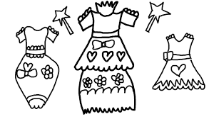Coloring Page of Pretty Dresses to Color for Children to Learn ...