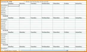 Meal Planning Spreadsheet Excel 16 Exact Meal Planning Chart Excel