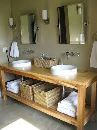 building bathroom vanity simple round sinks and wicker baskets on  minimalist wooden ideas beside grey wall