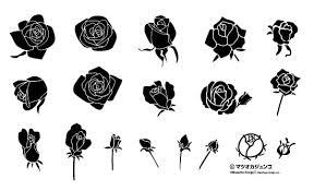 薔薇のベクター素材一式 シルエットデザイン
