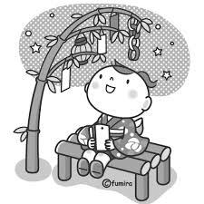 七夕のイラストモノクロ 子供と動物のイラスト屋さん わたなべふみ
