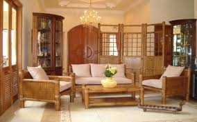 Bamboo Living Room Furniture Set With Cushion Living Room Decor