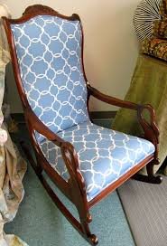 gooseneck rocking chair in blue and cream by wydevendesigns 495 00