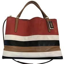 ... new zealand coach borough extra large crossbody stripe multicolor  satchel in red white black tan 7fb55