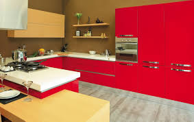 Red Cabinets In Kitchen Kitchen Exciting Contemporary Kitchen Design With Red Cabinets