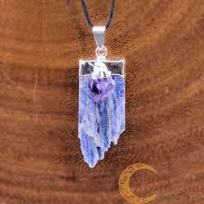 kyanite blade w amethyst point pendant