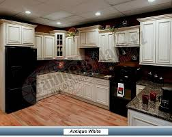 Small Picture Antique white cabinets with black appliances love this color of