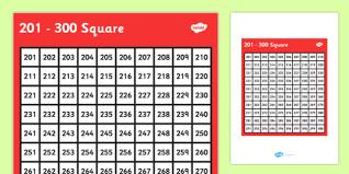300 Number Chart 201 300 Square 201 300 Square Number Number Square