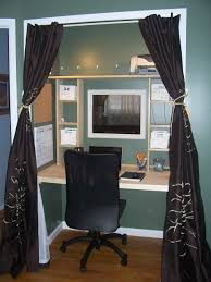 home office in a closet. Magnificent Dark Faux Silk Curtains For Closet Office Drapery With Custom Hardwood Freestanding Table And Black Vinyl Swivel C Home In A