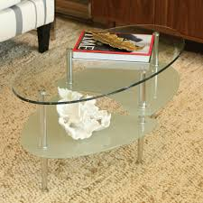 ... Coffee Table, Interesting Clear Industral Glass And Metal Small Oval Coffee  Table With Shelf Design ...
