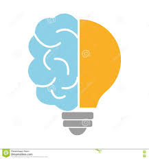 Light Bulb Graphic Blue Brain And Light Bulb Graphic Stock Illustration