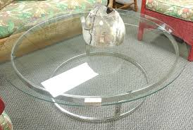 Contemporary Round Glass, Chrome Coffee Table