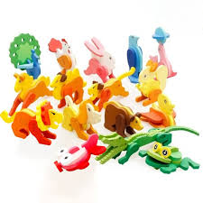 Kids 3D Puzzle Wooden Toy <b>Cartoon</b> Animals Crocodile Dog <b>Lion</b> ...