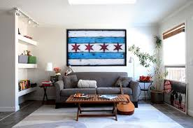 handmade distressed wooden chicago flag vintage art distressed weathered recycled