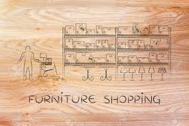Warehouse style furniture Industrial Furniture Shopping Customer With Shopping Cart Walking Through Warehouse Style Aisle In Furniture Store 123rfcom Furniture Shopping Customer With Shopping Cart Walking Through