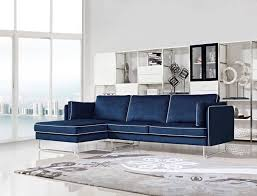 contemporary blue fabric sectional sofa with white piping larger image