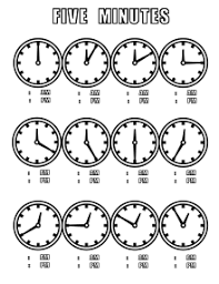 Time Clock Chart Wikijunior Tell Time Clock Coloring Book Five Minutes Chart
