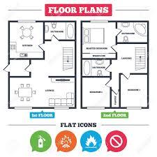 Architekturplan Mit Möbeln Grundriss Des Hauses Feuer Flamme