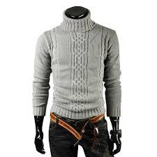 Men's Pattern Slim Casual Long Sleeve Turtleneck Sweater Sale ...