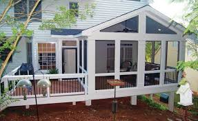 screened in deck. A Small Extension Off This Screened Porch Contains Captured Doorway Leading Out Onto The Adjacent Deck. In Deck C