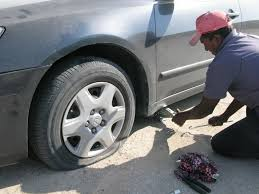 flat tire. Exellent Flat Fixing A Flat Tire With