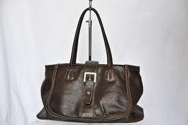 details about tod s tods dark brown leather buckle tote shoulder bag handbag purse large